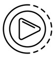 round video player icon outline style vector image