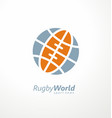 rugby logo with globe shape and ball vector image