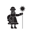 santa claus with a wand black concept icon vector image vector image
