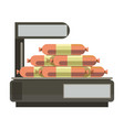 sausages meat on store counter weigth scales vector image vector image