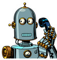 scared funny robot talking on a retro phone vector image vector image