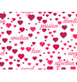 seamless pattern with hearts and words of love vector image vector image