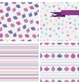 set 4 christmas and new year seamless patterns vector image