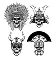 set warrior skull characters vector image