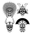 set warrior skull characters vector image vector image