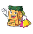shopping backpack character cartoon style vector image vector image