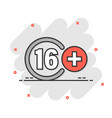 sixteen plus icon in flat style 16 on white vector image vector image