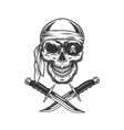skull in bandana and eye patch vector image