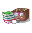 student with book slice almond chocolate cake vector image