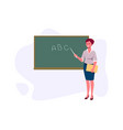 teacher with pointer shows on blackboard a vector image vector image