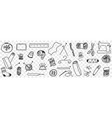 tools for sewing doodle set vector image