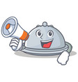 with megaphone tray character cartoon style vector image vector image