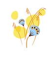 yellow blue card floral design element primitive vector image