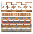 different seamless wood and brick fences vector image