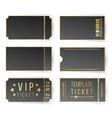 vip ticket template empty black tickets vector image