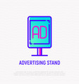 advertising stand thin line icon vector image