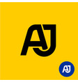 aj letters symbol a and j letters ligature vector image vector image