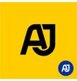 aj letters symbol a and j letters ligature vector image