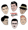 avatars retro men set of six 40s or 50s style vector image
