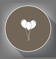 balloons set sign white icon on brown vector image vector image