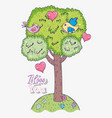 bird couple with hearts and tree with love message vector image