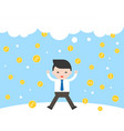 businessman jumping with happiness because gold vector image vector image