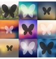 butterfly icon on blurred background vector image