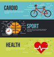 cardio sport health lettering infographic vector image vector image