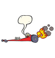 cartoon drag racer with speech bubble vector image vector image