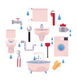 cartoon plumbing set vector image vector image