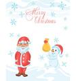 Christmas cartoon card with shy Santa vector image vector image