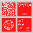 christmas greeting cards with gifts set vector image