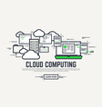 Cloud line computing vector image vector image