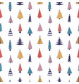 colorful fir trees hand drawn seamless vector image