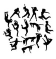 cool happy dancers silhouette vector image vector image