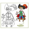 cute boy in costume cat in boots with a mouse in vector image vector image