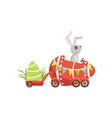 cute little bunny driving easter red car egg vector image vector image