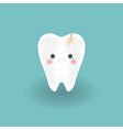 cute sad cracked white tooth cries from hurting vector image vector image