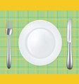 empty plate with fork and knife vector image