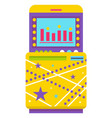 game machine with infocharts monitor with info vector image