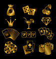 golden gambling poker card game casino luck vector image vector image