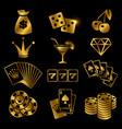 golden gambling poker card game casino luck vector image