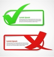 Green and red check mark banners vector image