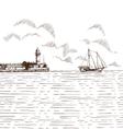 Hand drawn sea bay vector image