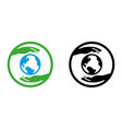 hands holding planet glyph icon save the vector image vector image