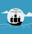 happy columbus day flat design greeting card vector image