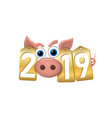 happy new year background pink pig 3d gold sale vector image