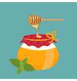 honey pot and honey dipper with leaf vector image