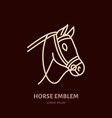 horse cute pony flat line icon logo for vector image