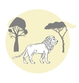 Lion between savanna trees vector image vector image